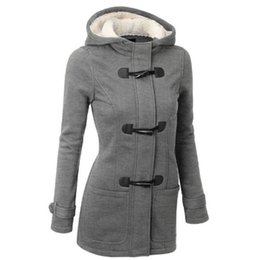 Wholesale Women Winter Pea Coat - Autumn Winter 5XL Fashion Womens Casual Coats Wool Blended Classic Pea Outwear Long Sleeve Hooded Jackets Claw Horn Button Womens Clothing