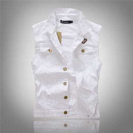 Wholesale Jean Jacket Beads - Fall-All-match Men White Jean Waistcoat Classic Vintage Jean Vest Classic Sleeveless Jean Jacket Asian Size M-XXL