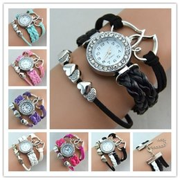 Wholesale Wholesale Quartz Women Watch - Infinity Watch Fashion Bracelet Watches Heart to Heart Wrist Watches Women Quartz Watches Round Case Drop Free Shipping
