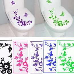 Wholesale Butterfly Decorations For Home - Butterfly Flower Bathroom Wall Stickers Home Deocr Home Decoration Wall Decals For Toilet Decal Sticker Decor Family Wallpaper [FG07060*10]