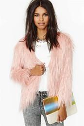 Wholesale Women Fur Winter Coats Xxl - Womens Long Hair Faux Fox Fur Warm Coat Ladies Fashion Winter Outwear Jacket Fur Topwear Pink color Free Shipping S M L XL XXL WT122