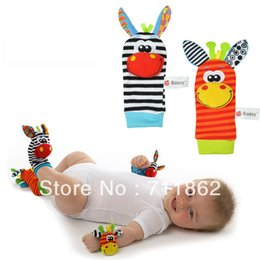 Wholesale Foot Rattles - promotion baby rattle toys Garden Bug Wrist Rattle and Foot Socks plush baby toys