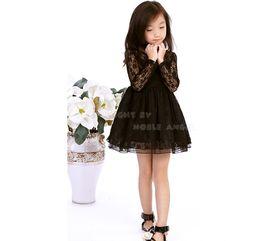 Wholesale Toddler Girls Red Tutu - 2015 Fashion Toddler Girls Lace Dress Girl Knee-Length Long Sleeve Dress Floral Princess Dress