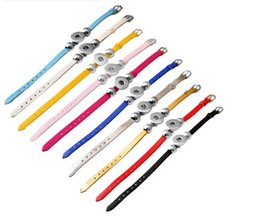 Wholesale Twisted Link Chain Stainless Steel - 15% off 50pcs 10color Length 20cm PU leather snap button bracelet 18mm button snap button armband jewelry drop shipping