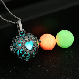 Wholesale Silver Harmony Ball Necklace - LED Harmony Ball Pregnancy Ball in Pendants Heart shaped clavicle chain hollow pendant Copper Metal Angel ball in Chain Necklaces