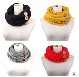 Wholesale Womens Warm Scarf - Button Scarves Womens Infinity Scarf Winter Scarf Fashion Scarf Thick Brand Scarves for Women Multi Scarf Neck Warmer Ring Scarf m1030