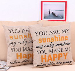 "Wholesale Embroidered Pillow Cover Cushion - Cheap pillow cover ""You are my Sunshine ""Cotton Linen Leaning Cushion Throw Pillow Covers Pillowslip Case Good Design 45*45 cm"