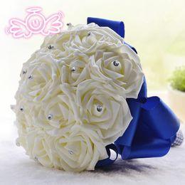 Wholesale silk bridal bouquets cheap - Cheap Bridal Wedding Supplies Bridal Wedding Bouquet Crystal Handmade Top Quality Artifical Pearl Beaded Silk Rose Bridal Bridesmaid Flowers