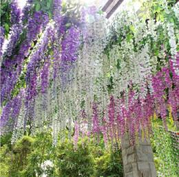 fiori di seta wisteria all'ingrosso Sconti Commercio all'ingrosso - 2014 vendita calda fiore di seta fiore artificiale glicine Vite rattan per San Valentino Home Garden Hotel decorazione di nozze