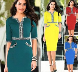 Wholesale Cheap Ladies Work Clothes - 2015 New Hot Summer Dress Office Dress Cheap Party Tunic Pencil Bodycon Women Dresses Fashion Casual Work Ladies Trendy Clothes OXL140804