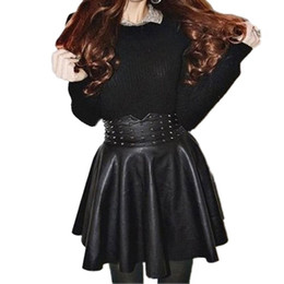 Wholesale Vintage Black Leather Skirt - 2016 Autumn Wintage Women Fashion Korean Sexy Pleated Skirt Rivet High Waist Black PU Leather Skirts Vintage Short Mini Skirts