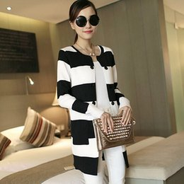 Wholesale Yellow Striped Sweater Women - Wholesale- 2017 New Brand Striped Casual Women Cardigan Jacket Long Sleeve Cotton Knitted Sweater Jumper Loose Design Autumn Long Top