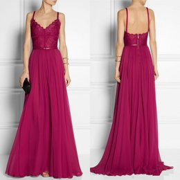 Wholesale Elie Saab Spaghetti Strap Dress - 2016 Elie Saab Cheap Evening Dresses Vintage Grape A Line Spaghetti Straps Sweep Train Lace Waist Chiffon Evening Prom Dresses EM00589