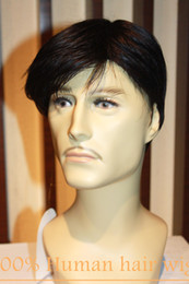 Wholesale Natural Real Hair Wigs - 100% Real Natural human Hair Men Short wigs Full Virgin Black Wig Hairpiece Toupee RJ-412