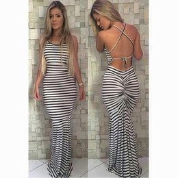 black white stripe dress woman Coupons - Brand New Sundress Halter Neck Long Black White Stripe Women Maxi pleated bodycon gathered bandage Stripe Dress free shipping