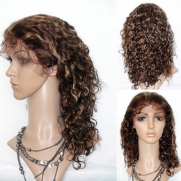Wholesale Piano Tie - Two Tone Ombre Kinky Curly Lace Wigs,Brown Mixed Honey Blonde Full Lace Human Hair Wig,Durable Hand-Tied Brazilian Deep-curly Full Lace Wig