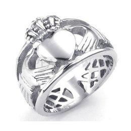 Wholesale Eternity Ring Stainless - Teboer Jewelry 3pcs Celtic Knot Eternity Stainless Steel Claddagh Ring Heart Crown MER222