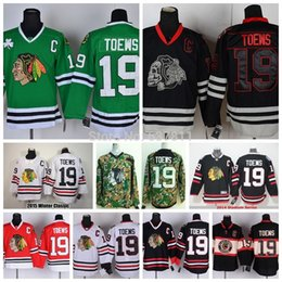 Wholesale C 19 - Cheap Men's Chicago Blackhawks Ice Hockey Jerseys #19 Jonathan Toews Jersey St.Patty's Day Green Stitched Jerseys with C Patch
