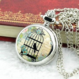 Wholesale Vintage Bird Cage Watch Necklace - New fashion Small birds Vintage Antique Cage style necklace Pocket Watch Free shipping L05478