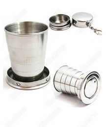 Wholesale Stainless Steel Retractable Folding Cup - 75ML Portable Stainless Steel Telescopic Retractable Travel Folding Collapsible Cup