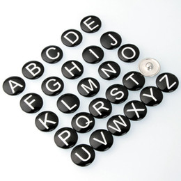 Wholesale Wholesale Alphabet Charms For Bracelets - DIY Initial 26 English A-Z Alphabet noosa Snaps 18mm Letter Snap Button Jewelry for Ginger Snap Charm Bracelet Jewelry
