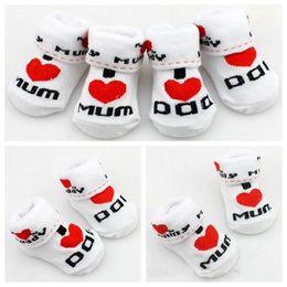 Wholesale Dad Socks - 100% cotton Baby socks rubber slip-resistant floor socks love dad love mum cartoon kids socks for girls boys