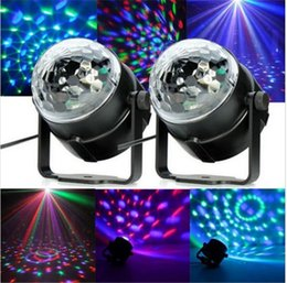 Wholesale Sound Activated Laser Lights - 3W Led Disco Lights With Sound Activated Plastic Laser Lamps Mini Crystal Ball Light Top Quality 18ba B R