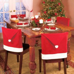 Wholesale Hat Decoration C - Free shipping Santa Clause Red Hat Christmas gift Chair Back Covers for Christmas Decorations Dinner Decor New Party Supply Favor