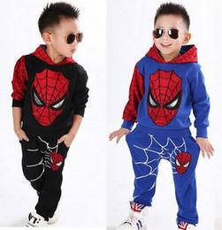 Wholesale Wholesale Clothing Hoodies - Boys Spring Autumn Spiderman Sports Suit 2 Pieces Set Tracksuits Kids Clothing sets 100-140cm Casual clothes Hoodie+Pant