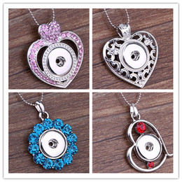 Wholesale S Heart Necklace - Mix Styles Crystal Jewelry charms Pendant Flower Heart necklace Snap Noosa DIY Jewelry Valentine,s day gift with snake chain N65