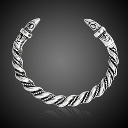 Wholesale Antique Celtic Jewelry - Viking Raven Bracelet Antique Silver Mammen Style Vikings Pagan Crow Norse Norway Animal Head Bangle Men jewelry Gift