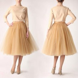 Wholesale Women S Gowns Custom Made - Khaki Tulle Skirts For Women 2016 Short Party Skirts For Women Plus Size Skirts Midi Skirts Custom Made Beach Dresses Puffy Dresses