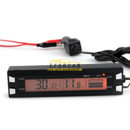 Wholesale auto temperature thermometer - 3in1 Digital LCD Clock Screen Car Auto Vehicle Time Clock Car Electronic Alarm Temperature Thermometer Voltage Voltmeter Via Free Shipping