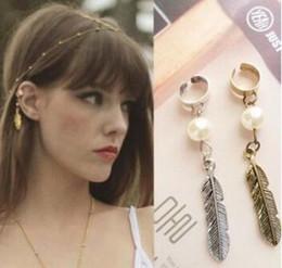 Wholesale Vintage Clip Earrings Pearl - Clip Earrings fashion jewelry imitation pearl pendant ear bone clip leaves Vintage jewelry Ear Clip Pearl Pendant Clip-on Earrings Free DHL