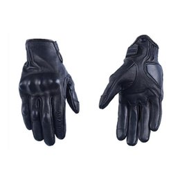 Wholesale Men S Brown Leather Gloves - Wholesale- Men Motorcycle Gloves Woman leather Motocross Gloves Summer Perforated Cycling Racing Luvas Touch screen Motorbike Moto Guantes