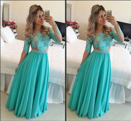 Wholesale Chiffon Evening Dresses For Women - Tulle Long Sleeve Applique Prom Evening Dress Formal Custom Made Real Image Gown Floor Length Events Maxi Cheap Prom Dresses For Women 2015