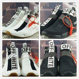 Wholesale Zip Box - Cheap Off-White x NMD City Sock Running Shoes High Quality Classic Style Black White NMD Outdoor Sneakers With Box&Drop Shipping