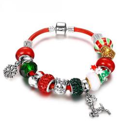 Wholesale Pandora Santa Charm - Christmas Pandora Women's Fashion Bracelet Bangles Santa Claus Crystal Beads Charm Bracelets Women Jewelry Merry Christmas