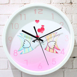 Wholesale Cartoon Wall Clocks - Romantic sweet pro mouth fish fashion chinese rustic brief style table quartz clock wall clock