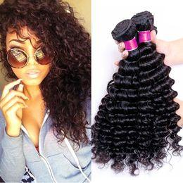 Wholesale Indian Curly Hair Wefts - Malaysian Virgin Hair 4 Bundles Deep Curly Wave Virgin Hair Natural Black Hair 7A Peruvian Brazilian Malaysian Deep Wave Curly Human Wefts