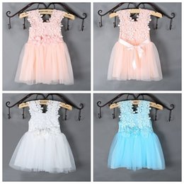 Wholesale Girls Crochet Lace Vests - PrettyBaby Summer sun dress for girls Dress Elegant Lace Crochet Girls Vest Dress Veil Princess Tutu Dress for Baby Girls free shipping