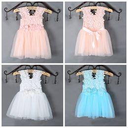 Wholesale Girls Crochet Vests - PrettyBaby Summer sun dress for girls Dress Elegant Lace Crochet Girls Vest Dress Veil Princess Tutu Dress for Baby Girls free shipping