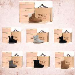Wholesale Grey Silk Bag - 2017 Classic WGG Brand Women popular Australia Ankle sports boots Snow Winter black grey chestnut warm boots With box certificate dust bag