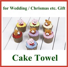 Wholesale Cake Towel Birthday Baby - 10pcs Mini Bear Style Cake Towel Cute Design Microfiber Cotton for Wedding Birthday Chrismas Gift Lovely Cake Towel Wholesale