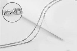 Wholesale Rhodium Plated Silver Box Chains - Rhodium Plated Italy Box Chain Necklace, 1mm Rhodium (Platinum color) Plating Necklaces 20pcs lot