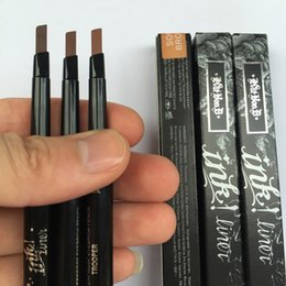 Wholesale Eyebrow Pencils - High Quality Makeup 2 in 1 Eyebrow Pencil With Eyebrow Shaper Long-lasting Trooper Ink Liner Brand Cosmetics In Stock