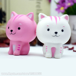 Wholesale Toys Cat Phone - Scented Anti Stress Pink Slow Rising Cat Phone Pendant Squishy White Child Animal Pretty Toys Simulation Jumbo Squeeze Free Shipping SQU018
