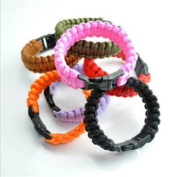 Wholesale Camping Cords - 200 colors you pick Self-rescue Paracord Parachute Cord Bracelets Survival bracelet Camping Travel Kit 2015 new