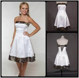 Wholesale Vintage Slim Line Wedding Dresses - 2016 Camo Wedding Dresses Knee Length Lace Up Back Summer Cheap Natural Slim A Line White Bridal Gowns Camouflage Cheap Custom