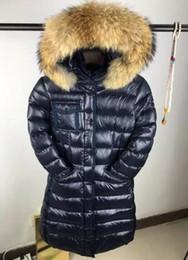 Wholesale dog down coat - M brand women down jacket winter Ladies anorak down coats slim style hooded 100% real big raccoon fur down parkas